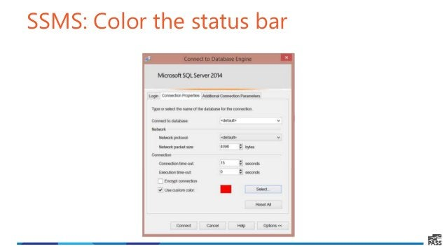 SSMS: Color the status bar