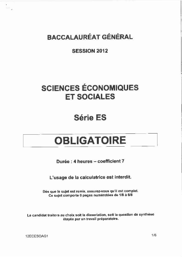 Sujet bac SES 2012 - obligatoire