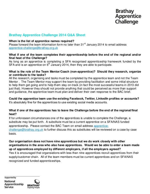 Brathay Apprentice Challenge 2014 Q&A Sheet When is the list of apprentice names required? Please forward the team informa...