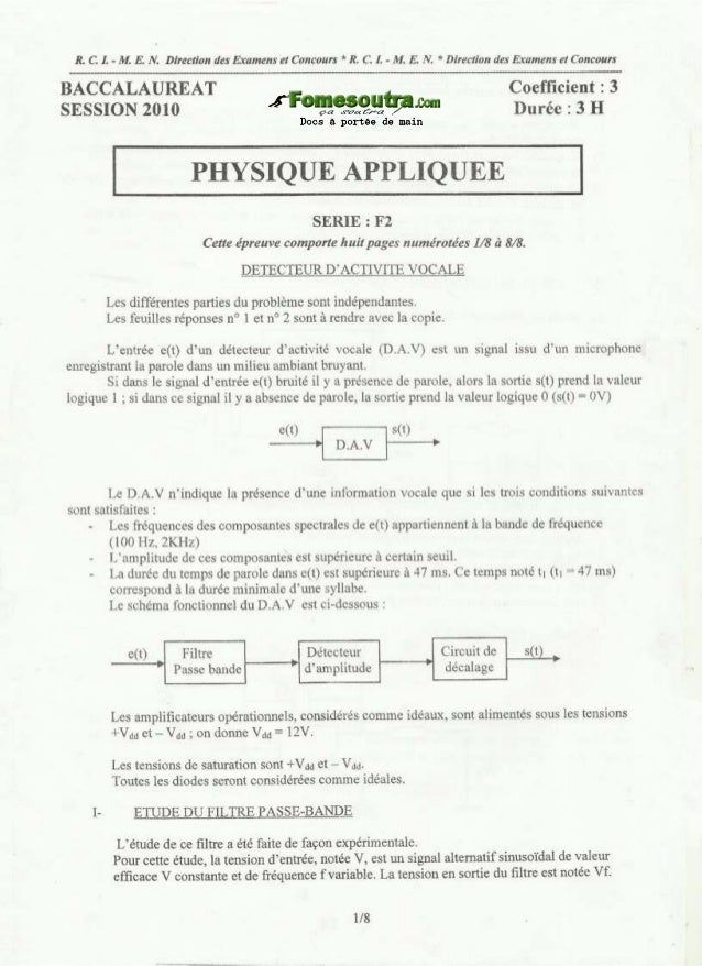 Bac 2010 physique appliquee f2