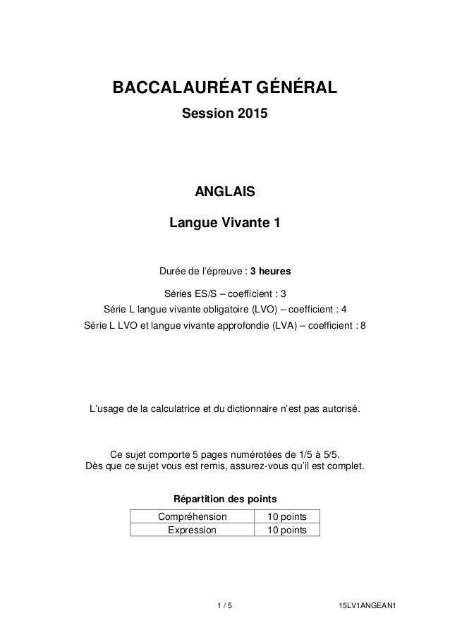 bac 2015 washington lv1 anglais