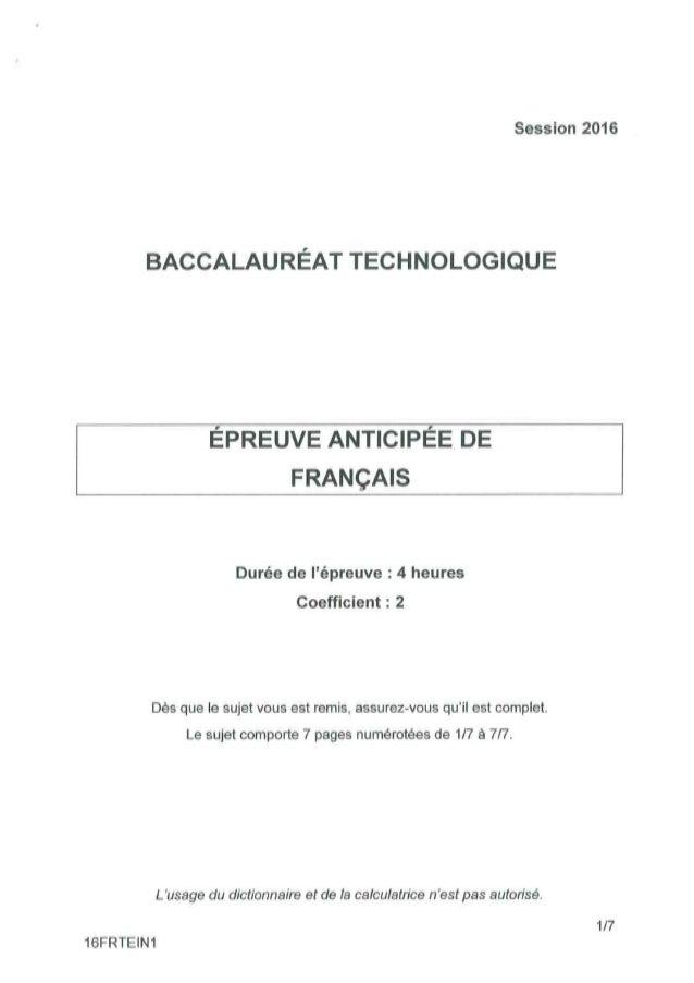 Bac technologique (ST2S, STMG, STI2D, STD2A, STL, Hôtellerie, TMD) 2016 Pondichéry : Sujet de l'épreuve anticipé de França...