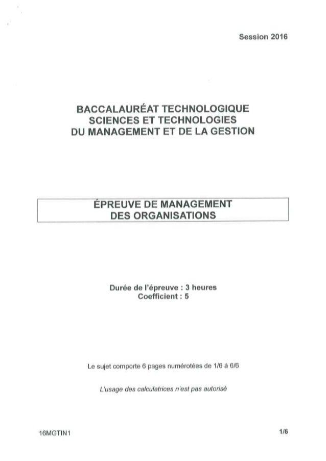 Bac STMG (Sciences et technologies du Management et de la Gestion) 2016 : les sujets de l'épreuve de Bac management des or...