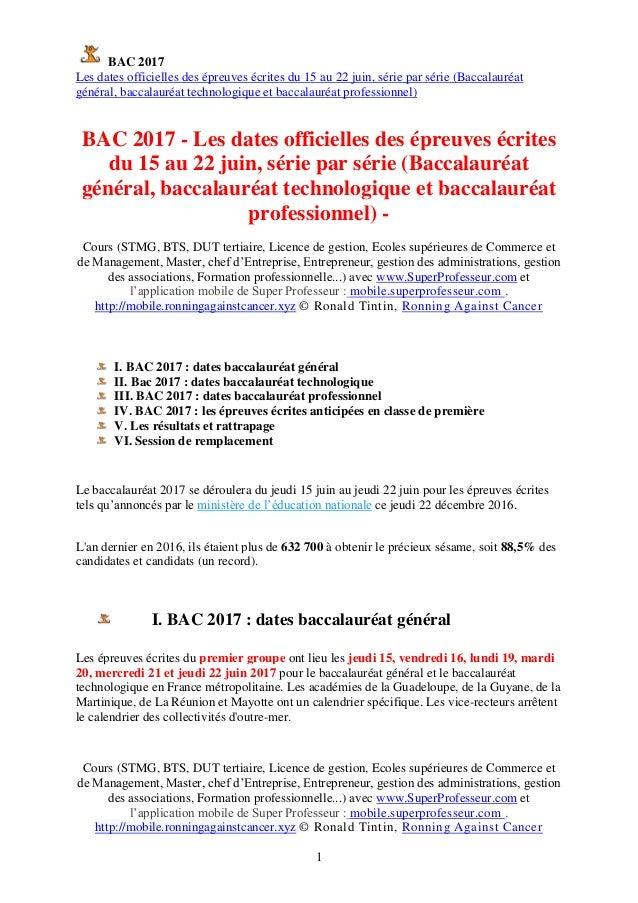 BAC 2017 Les dates officielles des épreuves écrites du 15 au 22 juin, série par série (Baccalauréat général, baccalauréat ...