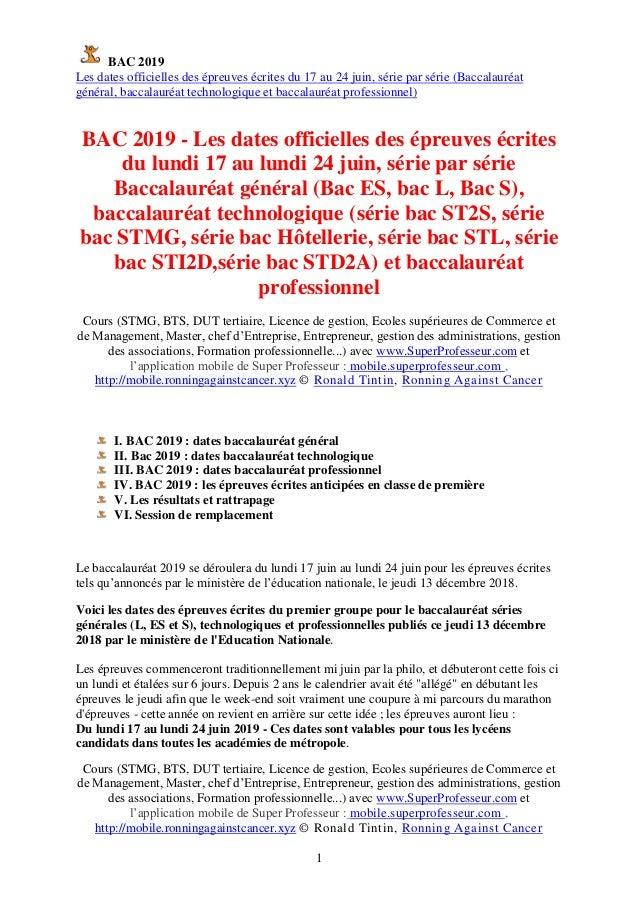 BAC 2019 Les dates officielles des épreuves écrites du 17 au 24 juin, série par série (Baccalauréat général, baccalauréat ...