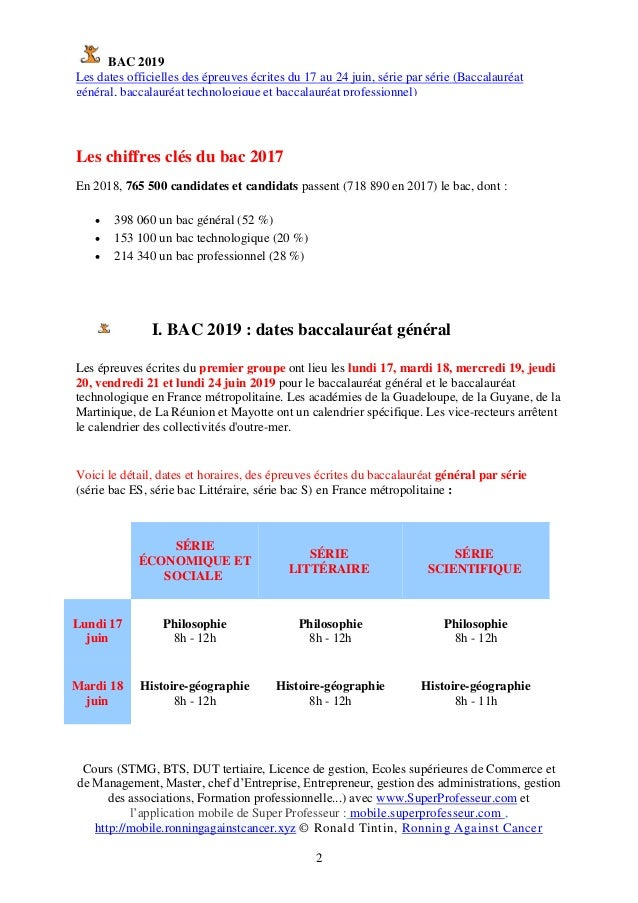 Calendrier Bac Es 2019.Bac 2019 Les Dates Officielles Des Epreuves Ecrites Du 17