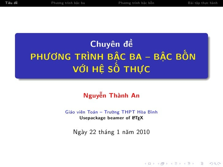 Tiêu đ      Phương trình b c ba         Phương trình b c b n   Bài t p th c hành                        Chuyên đ          ...