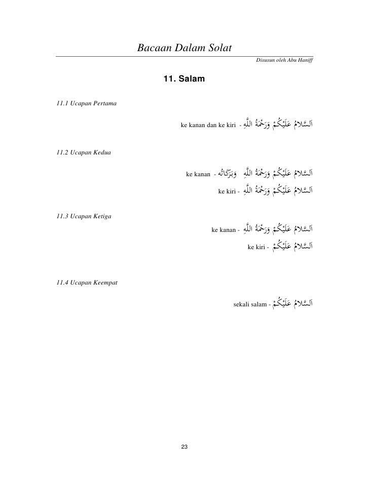 Bacaan Dalam Solat                                                            Disusun oleh Abu Haniff                     ...