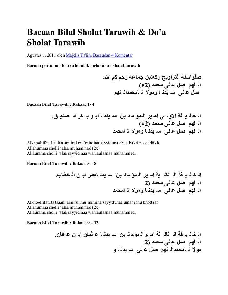 Image Result For Bacaan Bilal Shalat Tarawih Dan Doa Shalat