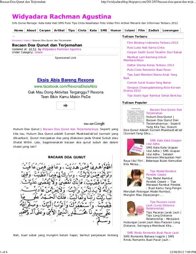 Bacaan Doa Qunut dan Terjemahan                                               http://widyadarablog.blogspot.com/2012/07/ba...