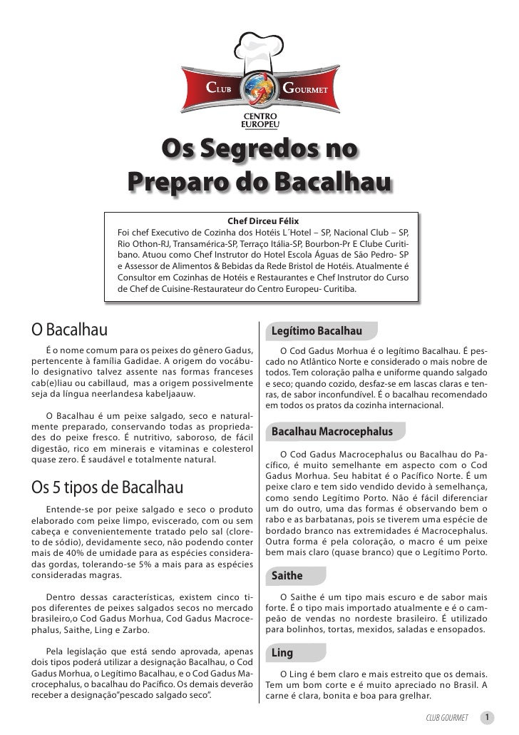 Os Segredos no                        Preparo do Bacalhau                                                 Chef Dirceu Féli...