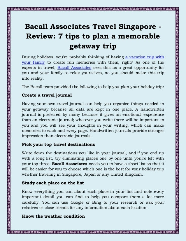 write about your trip