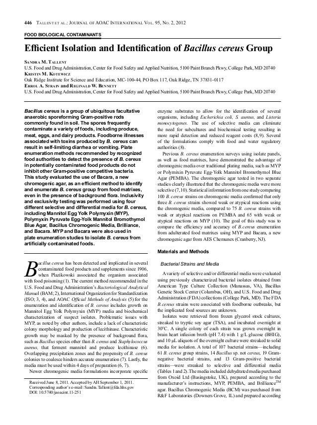 446 TallenT eT al.: Journal of aoaC InTernaTIonal Vol. 95, no. 2, 2012 FOOD BIOLOGICAL CONTAMINANTS EfficientIsolationa...