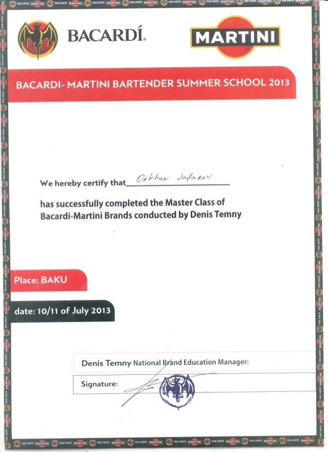 Master Mixologist Certification - Best Master 2017