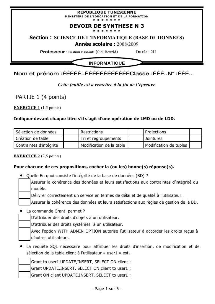 REPUBLIQUE TUNISIENNE                             MINISTERE DE L'EDUCATION ET DE LA FORMATION                             ...