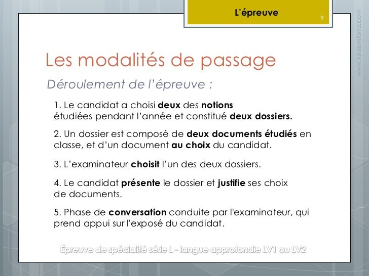 Présentation Baccalauréat Langues Vivantes (série L - LVA) 9.