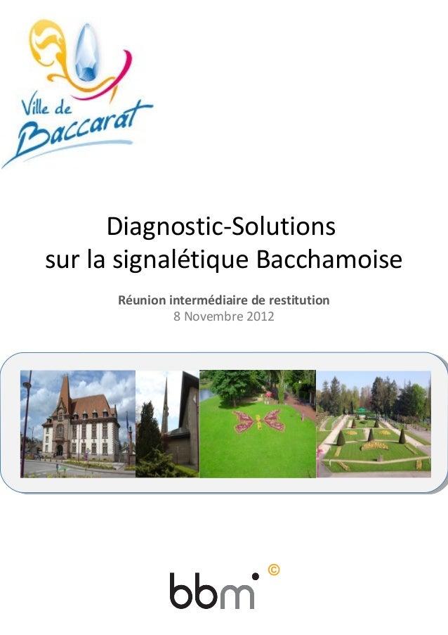 Diagnostic-Solutions sur la signalétique Bacchamoise Réunion intermédiaire de restitution 8 Novembre 2012 Signalisation de...