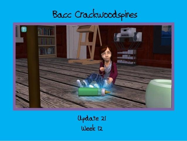 Bacc CrackwoodspinesWeek 12Update 21Alle plaatjes zijn gedaan.Tot en met dia 34 is tekst.Cover + end moeten nog.