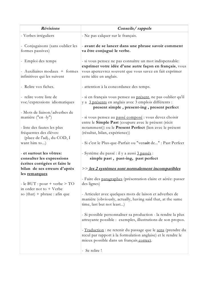 Révisions                                 Conseils/ rappels - Verbes irréguliers             - Ne pas calquer sur le franç...