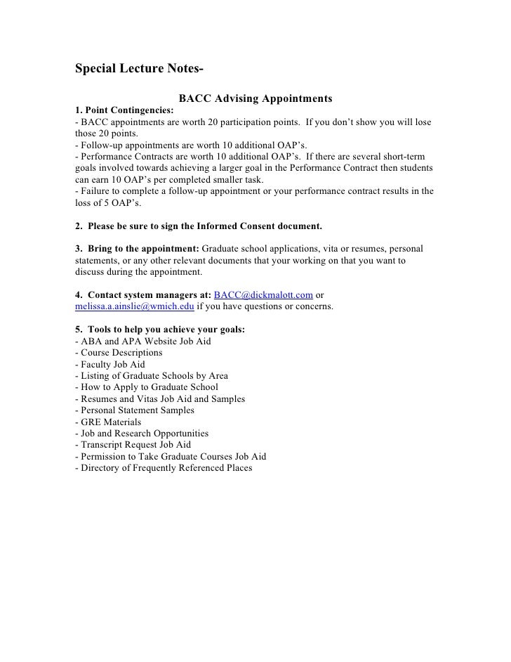 Special Lecture Notes-                           BACC Advising Appointments 1. Point Contingencies: - BACC appointments ar...