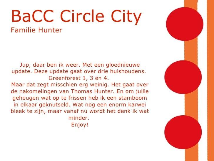 BaCC Circle City  Familie Hunter Jup, daar ben ik weer. Met een gloednieuwe update. Deze update gaat over drie huishoudens...