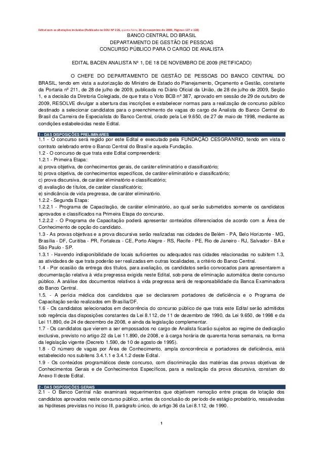 Editalcomasalteraçõesincluídas(PublicadonoDOUNº226,quinta‐feira,26denovembrode2009,Páginas127e128)   ...
