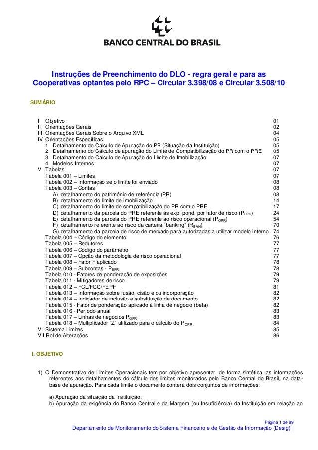 Página 1 de 89  Departamento de Monitoramento do Sistema Financeiro e de Gestão da Informação (Desig)   Instruções de Pree...