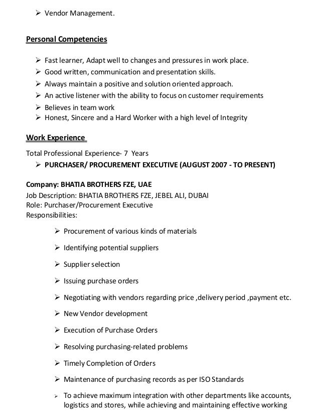 resume for purchaser