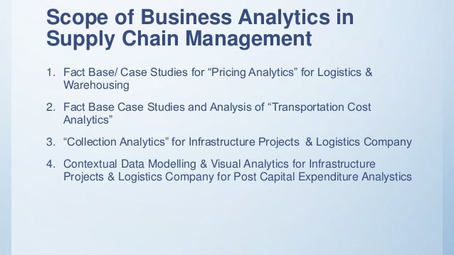Business Analytics for Logistics & Infrastructure Projects
