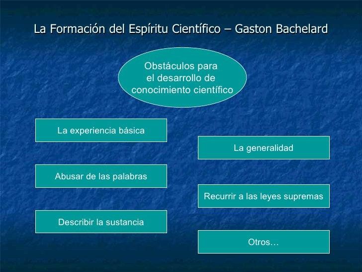 La Formación del Espíritu Científico – Gaston Bachelard La experiencia básica La generalidad Abusar de las palabras Recurr...