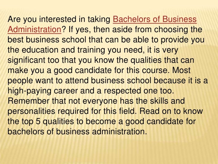 top 5 qualities of bachelors degree in business