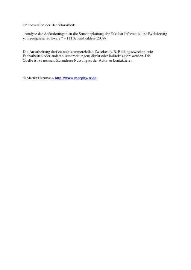 """Onlineversion der Bachelorarbeit: """"Analyse der Anforderungen an die Stundenplanung der Fakultät Informatik und Evaluierung..."""