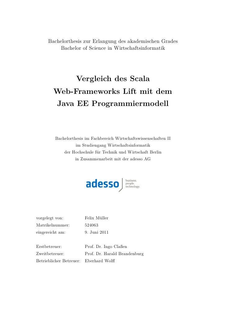 Bachelorthesis zur Erlangung des akademischen Grades          Bachelor of Science in Wirtschaftsinformatik                ...