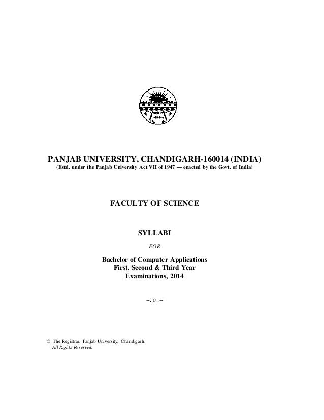 PANJAB UNIVERSITY, CHANDIGARH-160014 (INDIA) (Estd. under the Panjab University Act VII of 1947 — enacted by the Govt. of ...