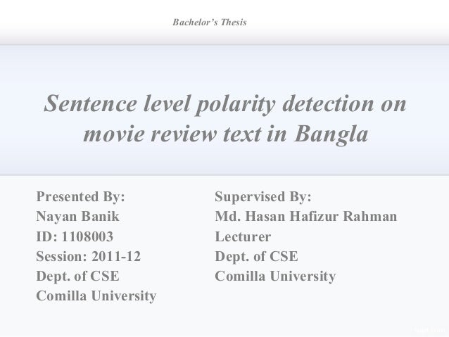 Bachelor Thesis Presentation