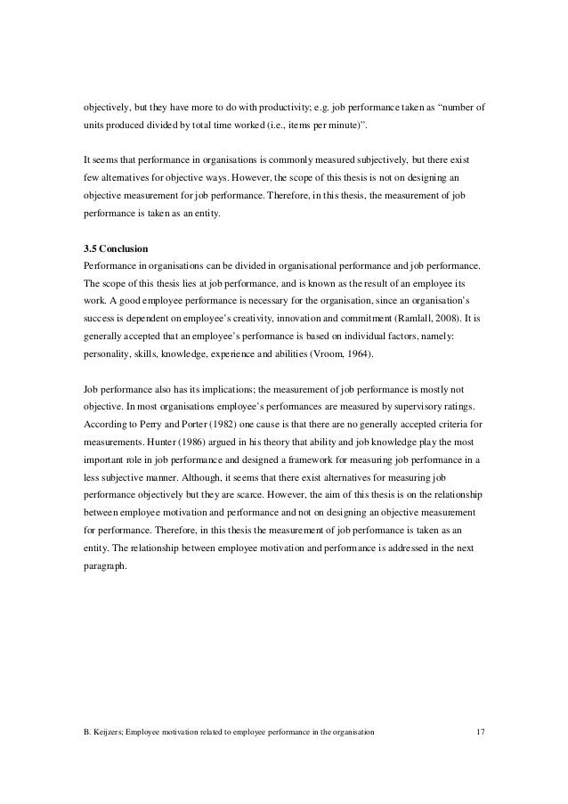 bachelor thesis employee motivation and performance staff motivatio   measure job performance 17