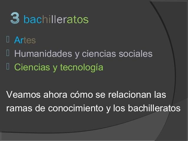 Bachillerato y Ramas conocimiento 2014 2015 Slide 3
