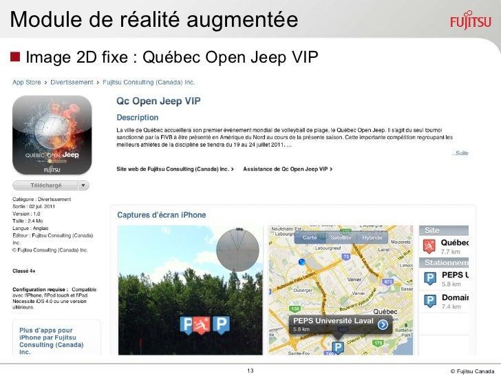 Module de réalité augmentée <ul><li>Image 2D fixe : Québec Open Jeep VIP </li></ul>