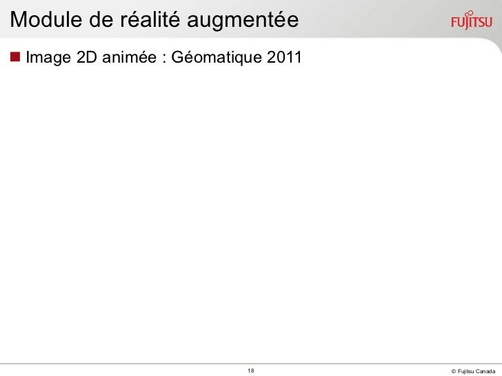 Module de réalité augmentée <ul><li>Image 2D animée : Géomatique 2011 </li></ul>