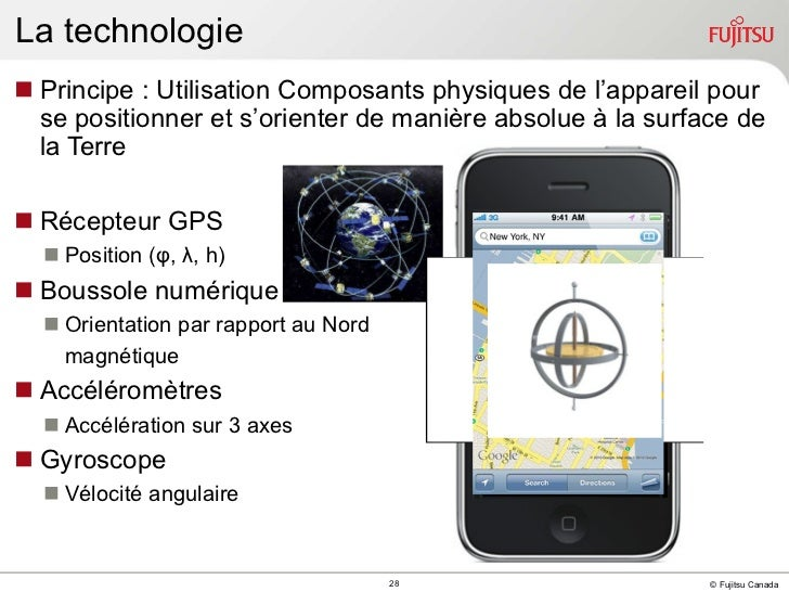 <ul><li>Principe : Utilisation Composants physiques de l'appareil pour se positionner et s'orienter de manière absolue à l...
