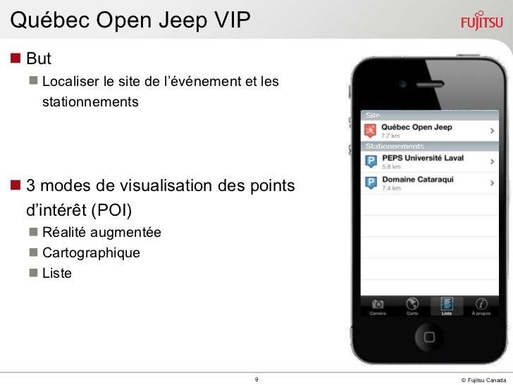 Québec Open Jeep VIP <ul><li>But </li></ul><ul><ul><li>Localiser le site de l'événement et les  </li></ul></ul><ul><ul><li...