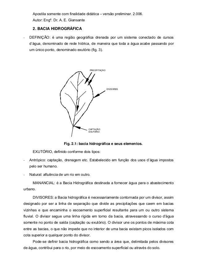 Apostila somente com finalidade didática – versão preliminar. 2.006. Autor: Engº. Dr. A. E. Giansante 2. BACIA HIDROGRÁFIC...