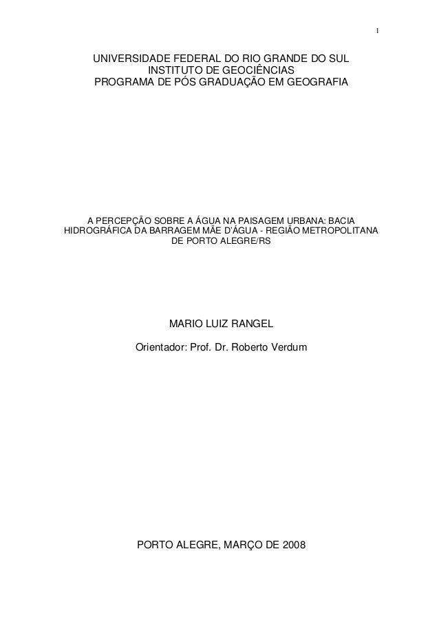 1  UNIVERSIDADE FEDERAL DO RIO GRANDE DO SUL INSTITUTO DE GEOCIÊNCIAS PROGRAMA DE PÓS GRADUAÇÃO EM GEOGRAFIA  A PERCEPÇÃO ...