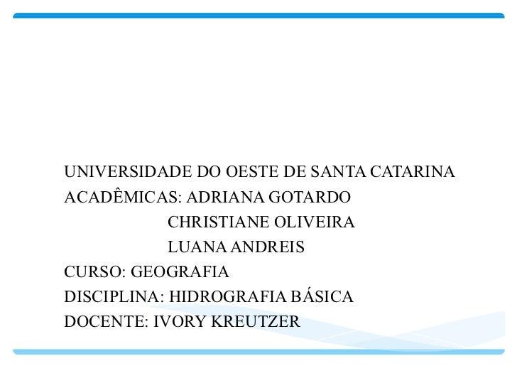 BACIA TOCANTINS - ARAGUAIA UNIVERSIDADE DO OESTE DE SANTA CATARINA ACADÊMICAS: ADRIANA GOTARDO CHRISTIANE OLIVEIRA LUANA A...