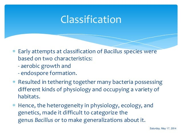 the characteristics and classification of the bacteria bacillus Of organisms which have the following characteristics in common:  numerous  strains of bacteria identical with, or closely related to, the bacillus welchii, under a .