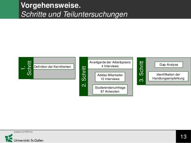 13 Vorgehensweise. Schritte und Teiluntersuchungen Definition der Kernthemen 1. Schritt Avantgarde der Arbeitspraxis 4 Int...