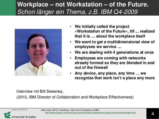 4 Workplace – not Workstation – of the Future. Schon länger ein Thema, z.B. IBM Q4-2009 Kelly Kass (2010): Creating a new ...
