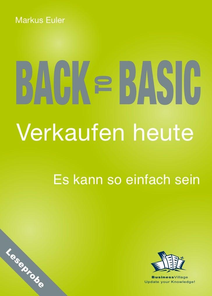 Back to Basic – Verkaufen heute