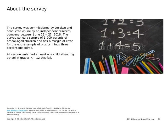 2016 Back-to-School SurveyCopyright © 2016 Deloitte LLP. All rights reserved. 17 About the survey The survey was commissio...