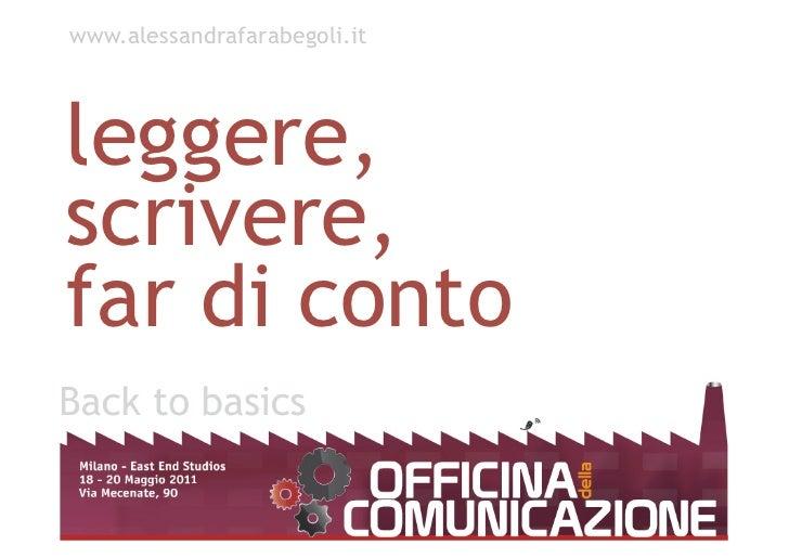 leggere, scrivere,  far di conto www.alessandrafarabegoli.it